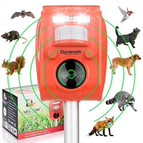 DURANOM Ultrasonic Pest Animal Repeller Outdoor Solar Powere