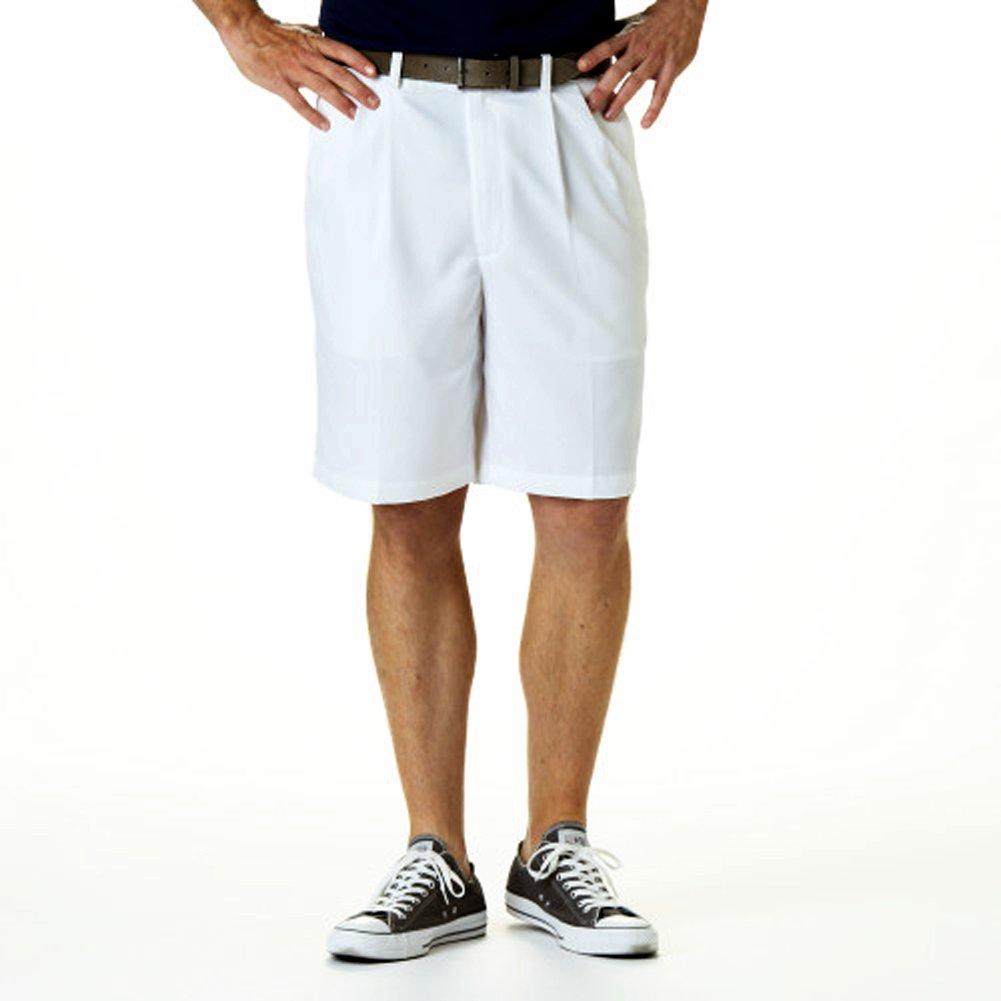 Haggar Men's Big and Tall Cool 18 Gabardine Pleat Front Short, White, 44