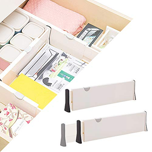 2 Pack Plastic Expandable drawer dividers, adjustable dresser drawer Organizer Separators for Kitchen, Bedroom, Bathroom, Closet, Clothing, Cabinet, Clothes, Underwear and Office Drawers, White