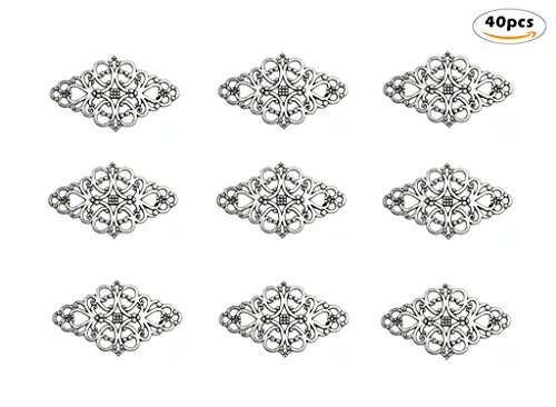 40pcs Filigree Flower Plate Charms,Hollowed-out Rhombic Pendant Connector for DIY Jewelry Making Wrapping Accessories By Alimitopia(Antique Silver (Flower Charm Pendant Jewelry)