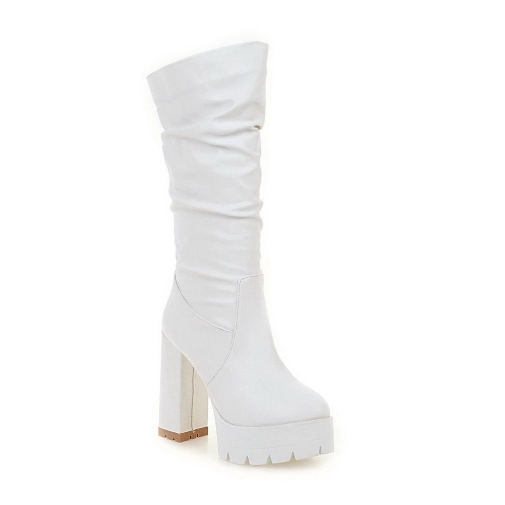AalarDom Women's Pull On High Heels Pu Solid Mid Top Boots, White, 34