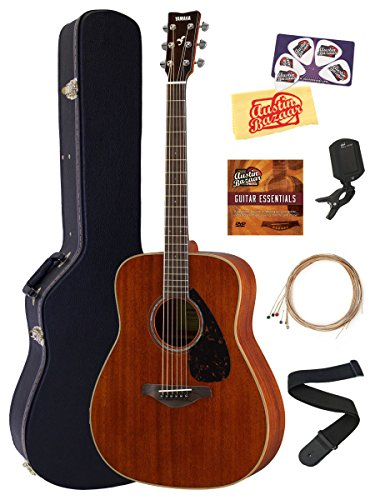 Yamaha FG850 Acoustic Guitar Bundle with Hard Case, Tuner, Strap, Strings, Austin Bazaar Instructional DVD, Picks, and Polishing Cloth – Natural Mahogany