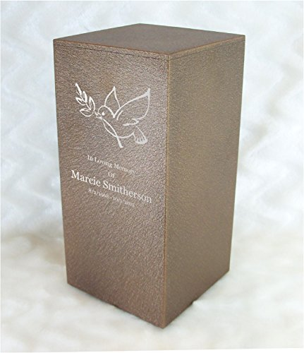 PERSONALIZED Engraved Dove of Peace Cremation Urn for Human Ashes -Made in America- Handcrafted in the USA by Amaranthine Urns, Adult Funeral Urn -Eaton DL- up to 200 lbs living weight (Cast Bronze)