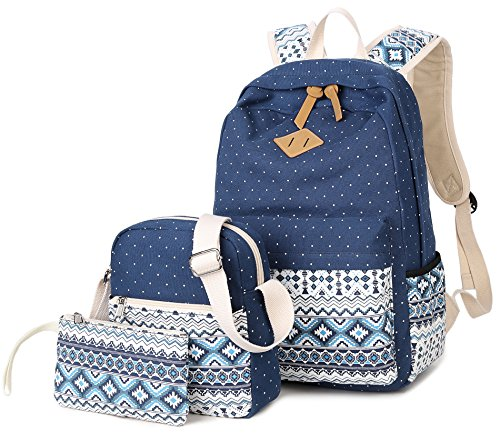 Goldwheat Fashion Dot Set Canvas School Backpack Lightweight Casual Laptop Bag Teen Girls Boys School Shoulder Bag Daypack Handbag(Navy Blue)
