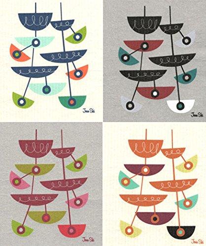 Swedish Dishcloths, Set of 4 Mid-century Modern SLICER Designs by Jenn Ski - Assorted Colors (4F-Navy/Maroon/Orange/Black) (Swedish Furniture Design Outdoor)