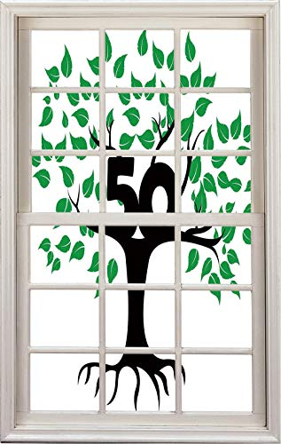 (3D Window Decal Wall Sticker,Tree Icon with Number Fifty Growth Aging,Home Decor)