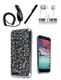 4 Items Combo For ZTE Zmax Pro Z981 Case Black Rock Bling Hard Cover + Car Charger + Free Stylus Pen + Free 3.5mm Earphone