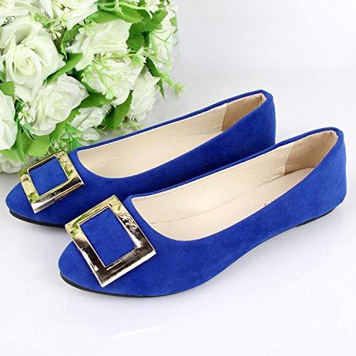 casual scarpe pigro royal LvYuan da CN36 tacco blue pelle moda comodità amp; ginnastica amp; camminate ufficio scamosciata da donna scarpe mocassini piatto casual Scarpe carriera BHRnBp4xO