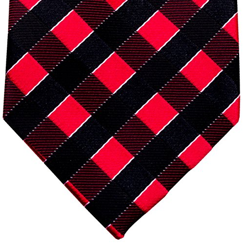 Retreez Classic Check Woven Microfiber Boy's Tie (8-10 years) - Black and Red Check