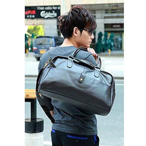 AppleLand 韓国 ファッション メンズ ジム ダッフル サッチェル トラベル ショルダー バッグ ハンドバッグ PU レザー ブラック - クウォークcm   B07M873566