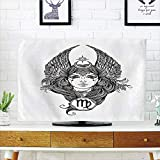iPrint LCD TV Cover Lovely,Virgo,Black and White Monochrome Drawing of a Woman with Long Hair and Wings Horoscope Decorative,Black White,Diversified Design Compatible 50''/52'' TV