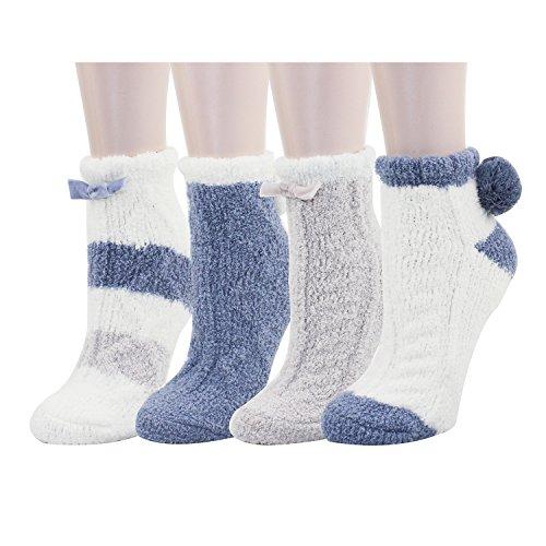 4 Pack Women Indoors Anti-Slip Winter Fuzzy Slipper Socks with - Bow Length Ankle Socks Nylon
