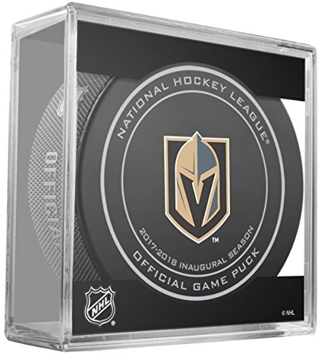 (2017 2018 VEGAS GOLDEN KNIGHTS INAUGURAL SEASON PUCK IN ACRYLIC CUBE DISPLAY)