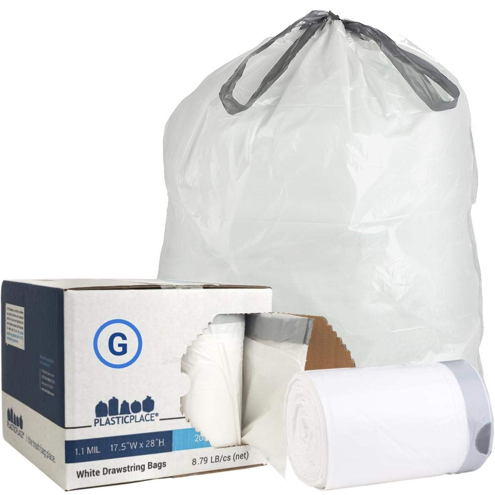 Plasticplace Custom Fit Trash Bags │ Simplehuman Code G Compatible │ 8 Gallon/ 30 Liter White Drawstring Garbage Liners │ 17.5'' X 28'' (200Count) by Plasticplace (Image #1)