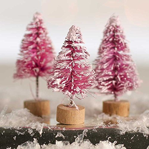 18 Piece Package of 1.5 Inch Miniature Frost Covered Mulberry Wine Bottle Brush Trees on Wood Bases for Crafting Holiday Displays, and Miniature Work