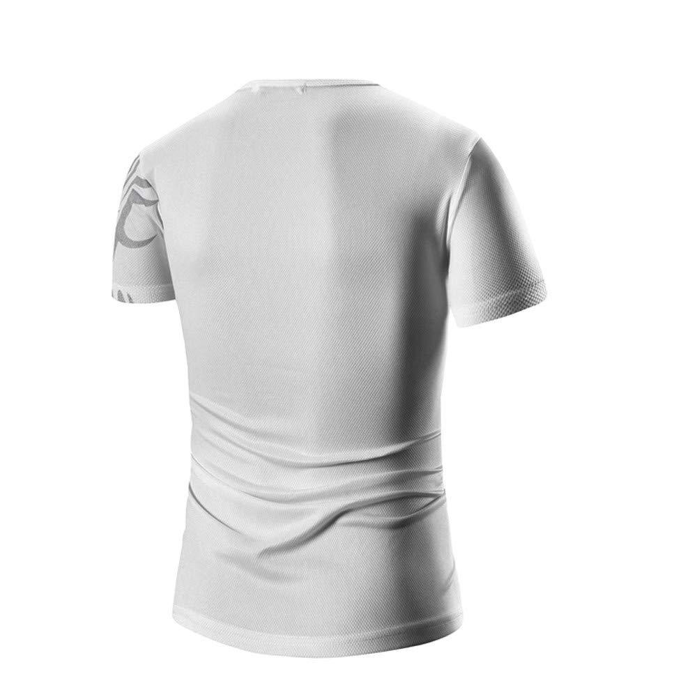 PASATO Men Summer Round Neck Tee Printing Men's Short-Sleeved T-Shirt Top Blouse(White-1,M=US:S) by PASATO Blouse For Men (Image #2)
