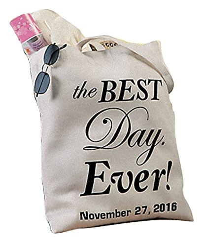 Personalized Best Day Ever Wedding Canvas Tote - Customize with Names and/or Date - Great Gift by Home Accents