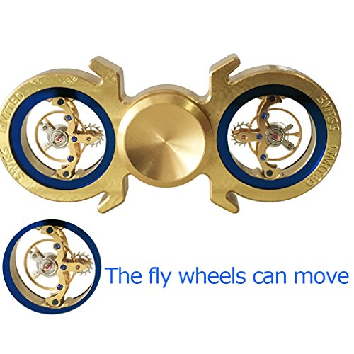 Brass Hand Spinner 6+min, Fidget Spinner EDC Toy Metal Spinning Tops Gyro, Flywheel Limited Edition, Premium Bearing, Ultra Duarable (Brass 1 6+min)