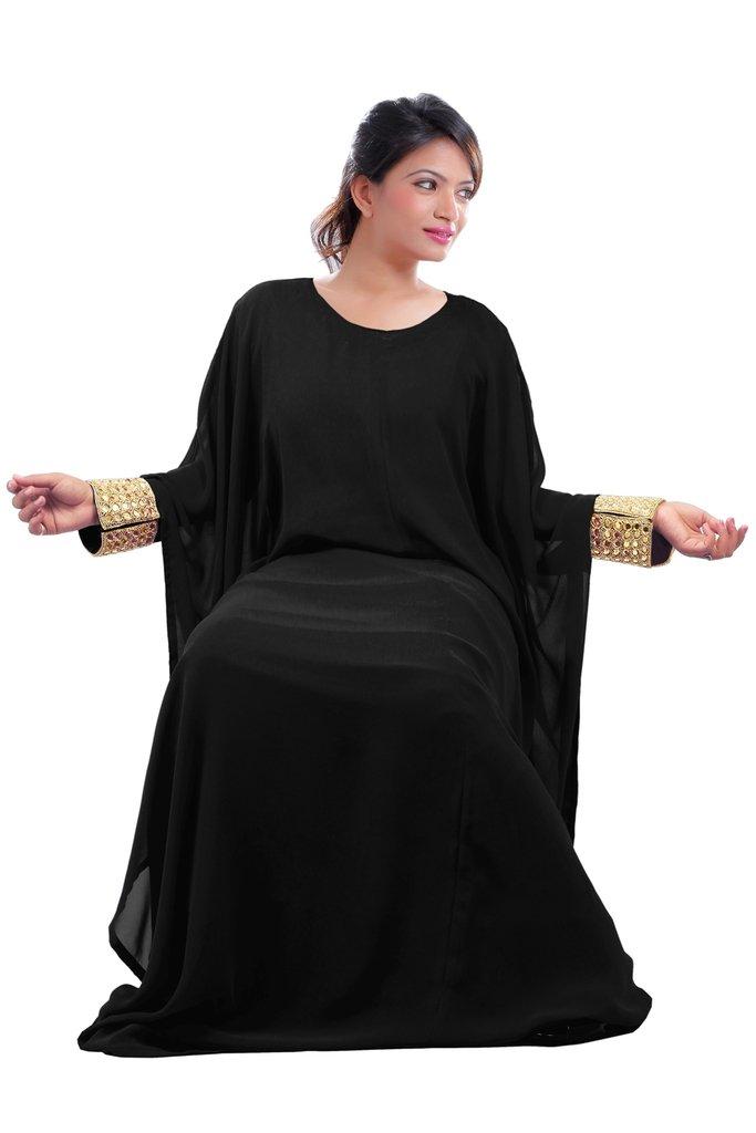 Dubai Very Fancy Kaftan Luxury Crystal Beaded Caftan Abaya Wedding Dress (XXXXL Black)