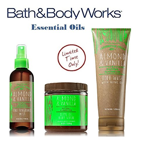 Bath & Body Works ALMOND & VANILLA Olive Oil Set - Body Scrub - Body Wash & Fragrance Mist Full Size (Mist Bath Oil)