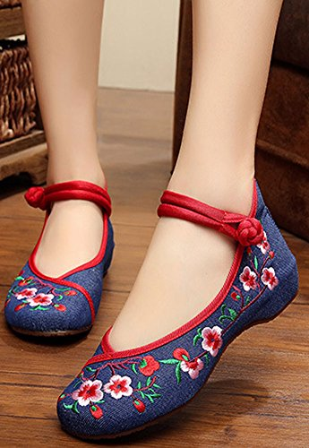 Rubber Blue Embroidery Casual Sole Dark AvaCostume Classics Flats Womens Shoes UIwxqTZ