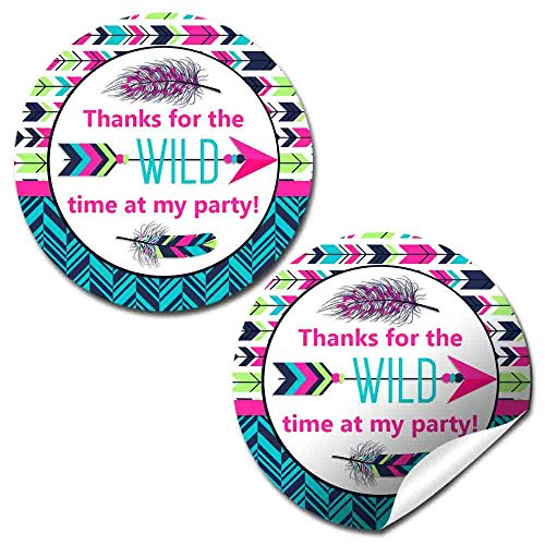 Wild One Tribal Boho Birthday Party Thank You Sticker Labels for Girls, 20 2
