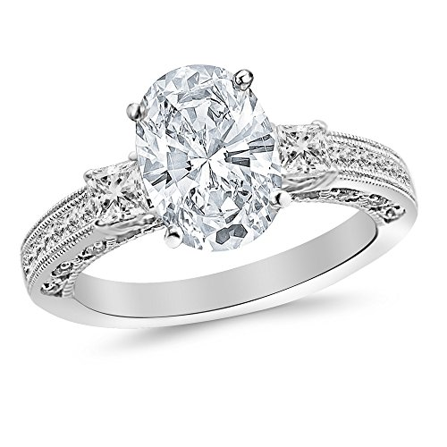 3.5 Ctw 14K White Gold Three 3 Stone Princess Cut Channel Set Oval Cut GIA Certified Diamond Engagement Ring (3 Ct H Color SI1 Clarity Center Stone)