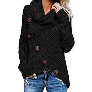 Asvivid Womens Cozy Turtleneck Cowl Neck Long Sleeve Sweater Tops Winter Warm Button Wrap Pullover Tops M Black