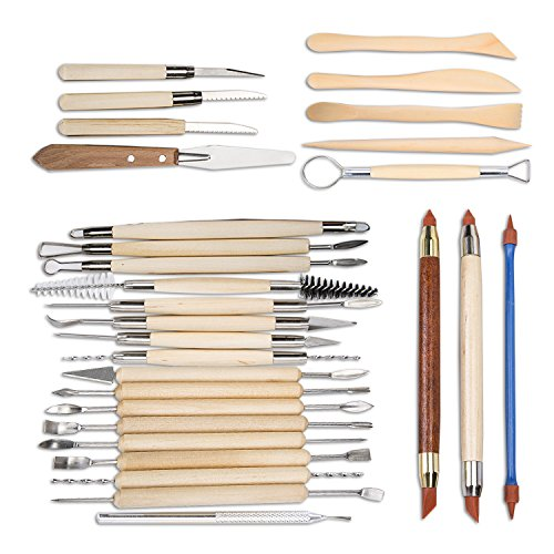 WINCAN Sculpture Tools Clay Carving Set /30 PCS - Includes Clay Color Shapers, Modeling Tools & Wooden Sculpture Knife for Professional or Beginners