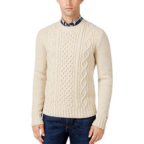 Tommy Hilfiger Cable Knit Men Crewneck Wool Sweater Beige 2XL ()
