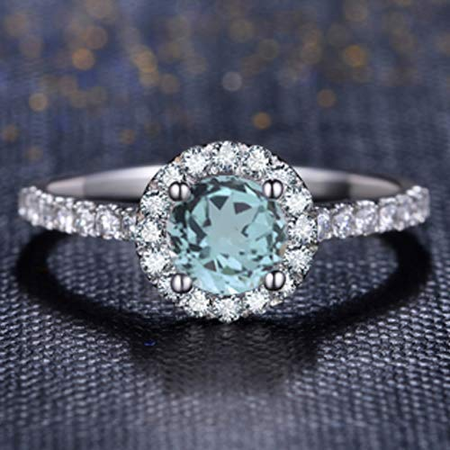Round Cut Aquamarine Engagement Ring 14k White Gold Palladium Platinum Natural Aquamarine Ring Halo Handmade Anniversary Ring