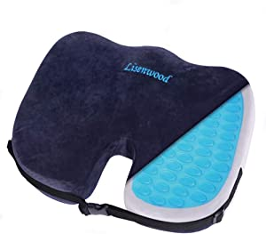 Lisenwood Gel Seat Cushion - 100% Memory Foam Coccyx Seat Cushion for Tailbone Pain Relief, Sciatica Pain Relief - with Gel & Non-Slip Bottom & Fixing Strap Design - Office Chair Car Seat Cushion