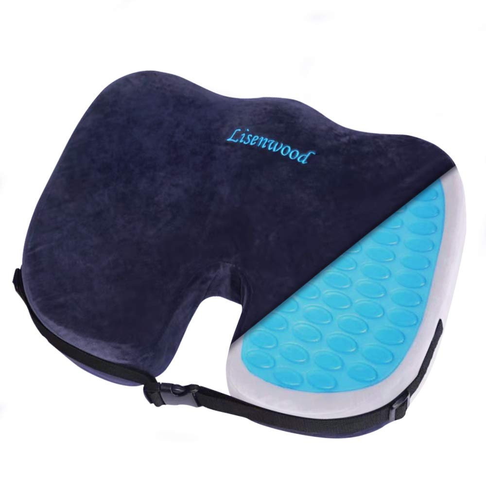 Lisenwood Gel Seat Cushion - 100% Memory Foam Coccyx Seat Cushion for Tailbone Pain Relief, Sciatica Pain Relief - with Gel & Non-Slip Bottom & Fixing Strap Design - Office Chair Car Seat Cushion by Lisenwood