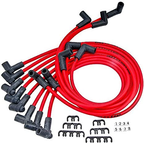 Amazon.com: JEGS 40210 8.0mm Red Spark Plug Wires 90 Degree Small ...