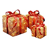 Set of 3 Red and Gold Colored Christmas Decorative Gift Boxes Table Toppers - Clear Lights 14''