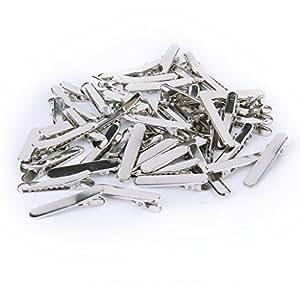 Aprox. 50Pcs Blank Metal Hair Clip Duckbill 35mm