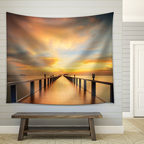 Wooded Bridge in The Port Along Sunrise Fabric Wall