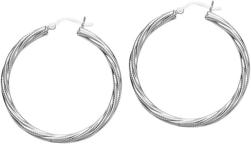 Ss Rhod Twist Hoop Earring Hoop Earrings