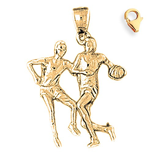Basketball Player Charm Gold Plated - Gold-Plated 925 Silver 28mm Basketball Player 8.25