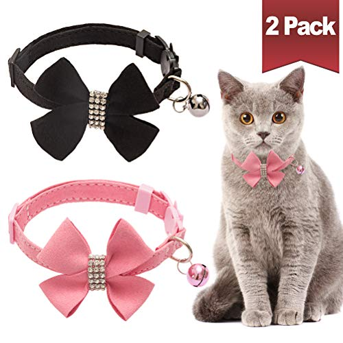 (BINGPET Cat Collar Breakaway with Bell Bowtie, Adjustable Safety Buckle,Velvet Rhinestone Diamond, 2 Pack, Pink&Black)