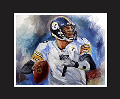 Ben Roethlisberger, football quarterback for the Pittsburgh Steelers of the National Football League. Oil Painting Print 16 X 20