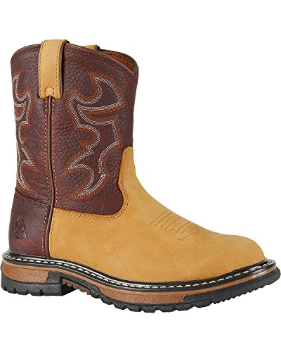 Rocky 3571 Kid's Branson Roper Boot Crazy Horse/Bridle Brown Child's 1 M US