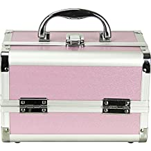 Just Case Mini Makeup Cosmetic Train Case Organizer Storage Easy Clean with 2-Tray and Mirror, Smooth Pink, 1-Count