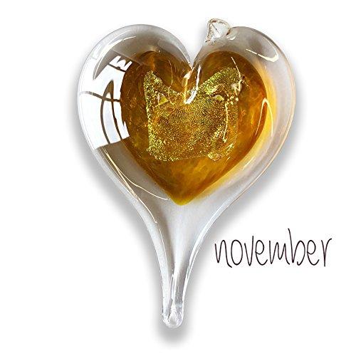 Luke Adams Small Glass Heart November (November Glass)