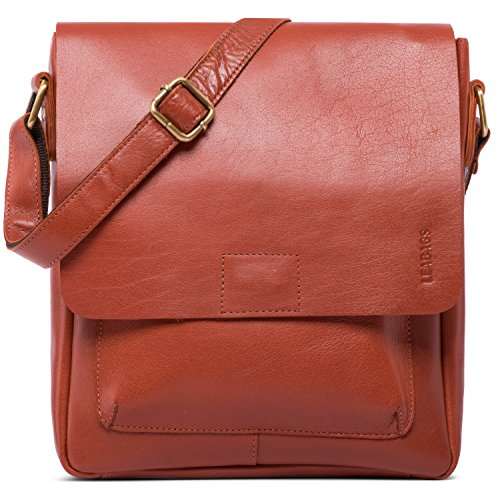 Cognac Buffalo Leather - LEABAGS Ely Shoulder Bag of Genuine Buffalo Leather in Vintage Look - Cognac