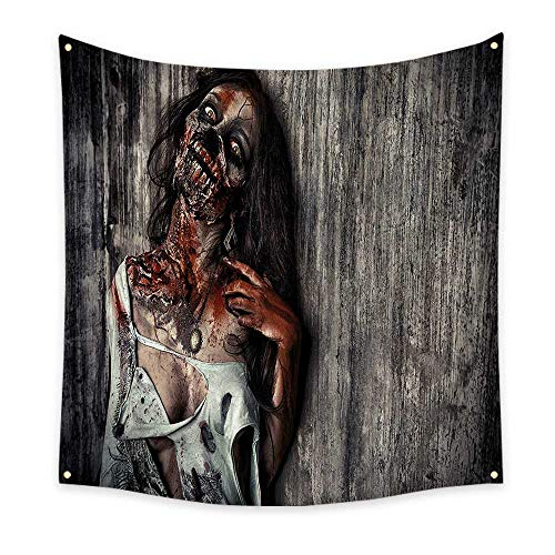 Zombie Decor Tapestry Angry Dead Woman Sacrifice Fantasy Mystic Night Halloween Image Cool Tapestry Dark Taupe Peach Red 32W x 32L Inch