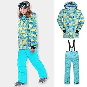 Unisex Kids Ski Suit,Children Outerwear Skiing Jacket+ Suspender Trousers 2 PCS,Waterproof Windproof Snowboard Ski Sets for Girl Boys 116-164 CM,Turquoise,158/164CM