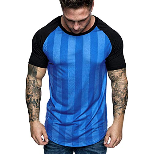 iHPH7 T-Shirts Heather Fitted Short Sleeve Crew Neck Summer Casual Fashion Short Print Round Neck Fitness T-Shirt Top Blouse for Men (L,10- Blue)