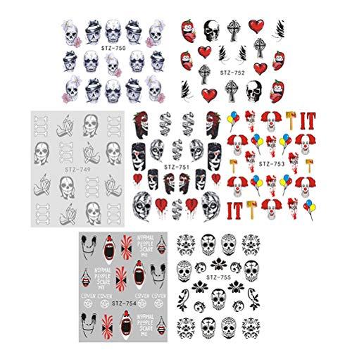 Beaupretty Halloween Nail Art Stickers Self-adhesive DIY Nail Tattoo Stickers Nail Decals,25Sheets]()