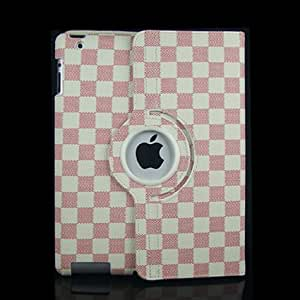 Ctech 360 Degrees Rotating Stand (Pink/White) Stylish Grid Plaid Leather Case for iPad 2 with Smart Cover Wake/Sleep Capability